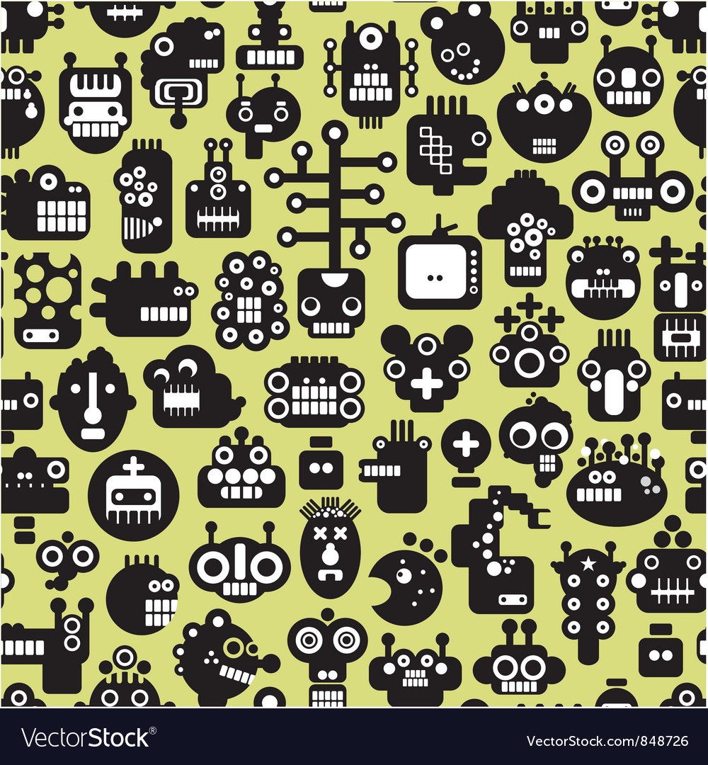 Seamless various faces pattern vector