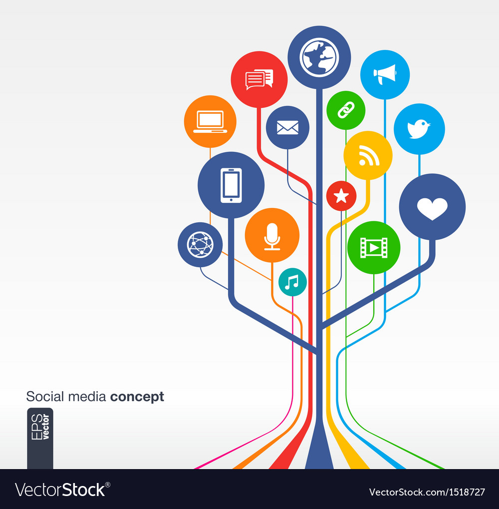 Abstract social media background with icons vector