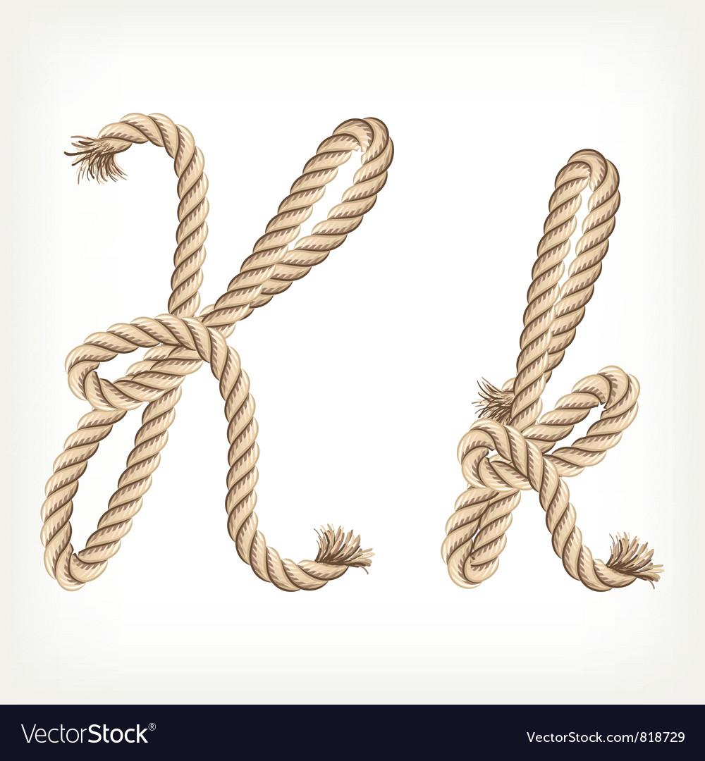 K Alphabet Letter Rope alphabet letter k vector