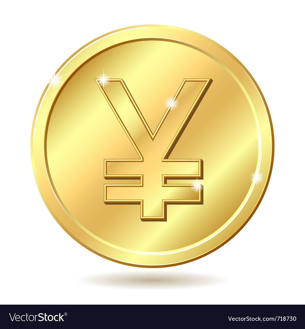 Golden coin yen vector by tassel78 - Image #718730 - VectorStock