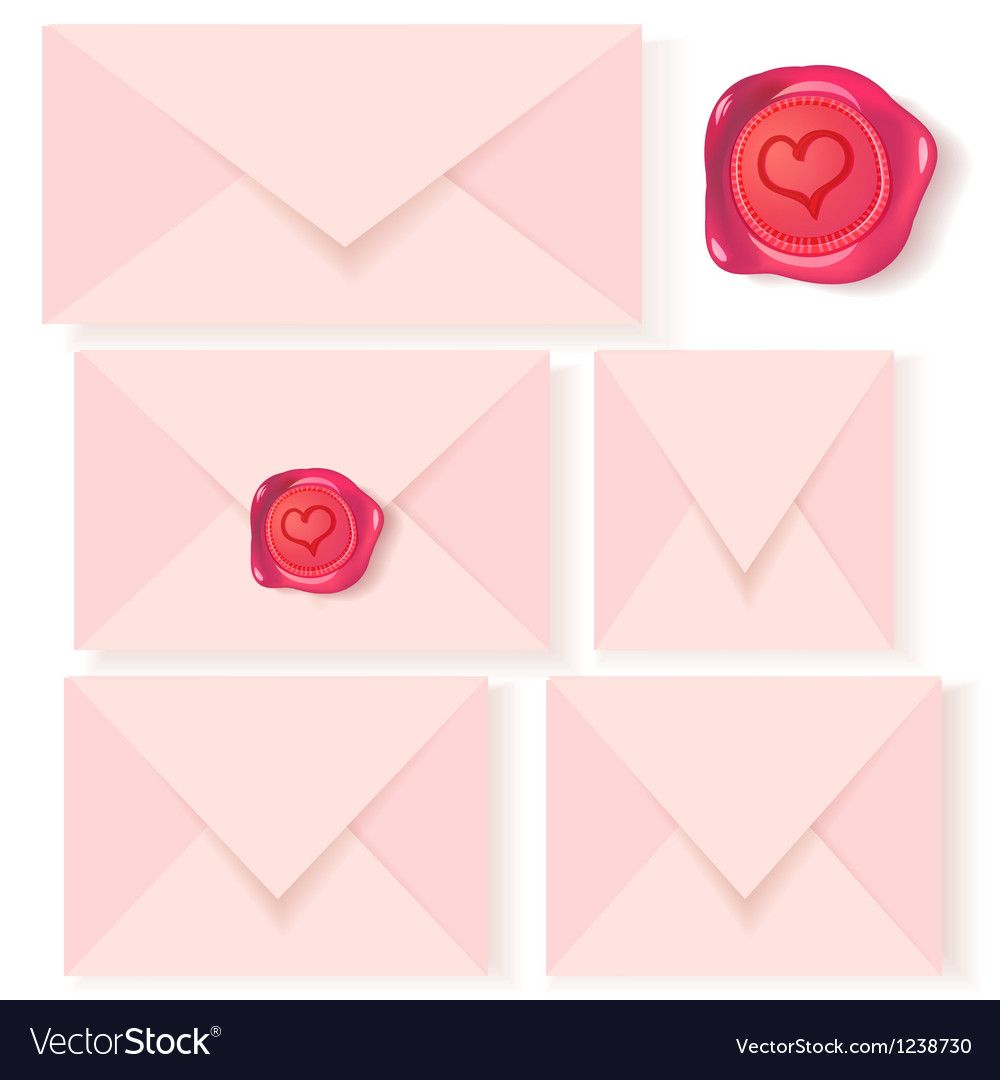 Set of pink letters with romantic wax seal vector