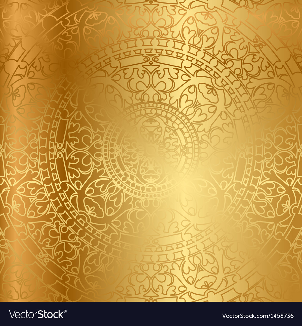 Gold background oriental decoration vector