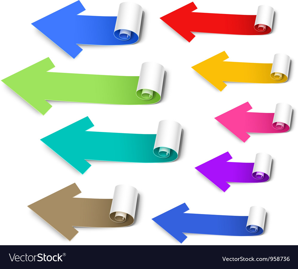 Set of colored arrows vector