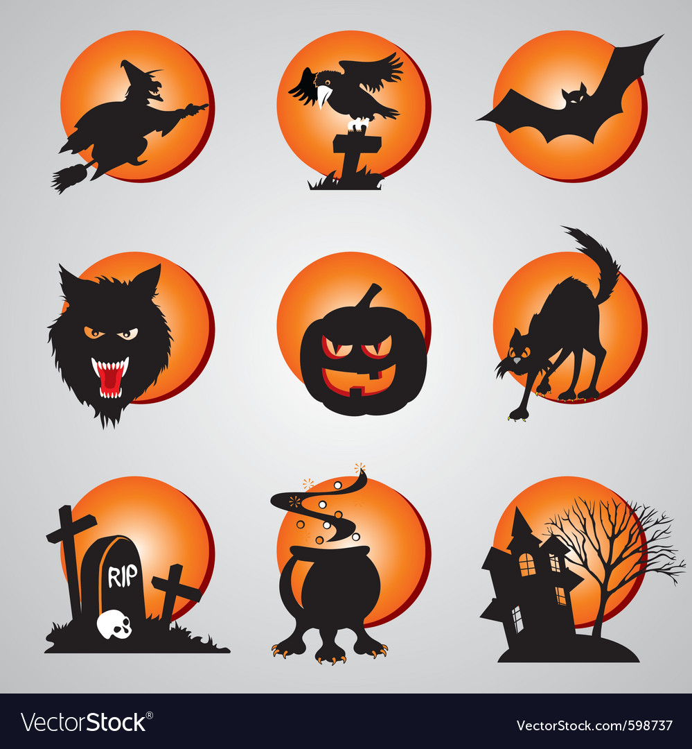 Icons halloween vector