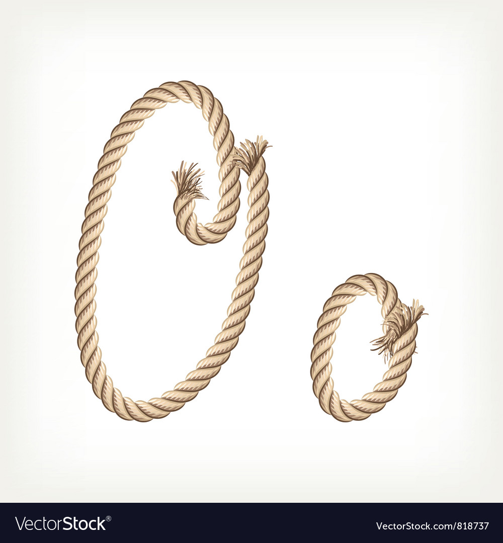 Rope alphabet letter o vector