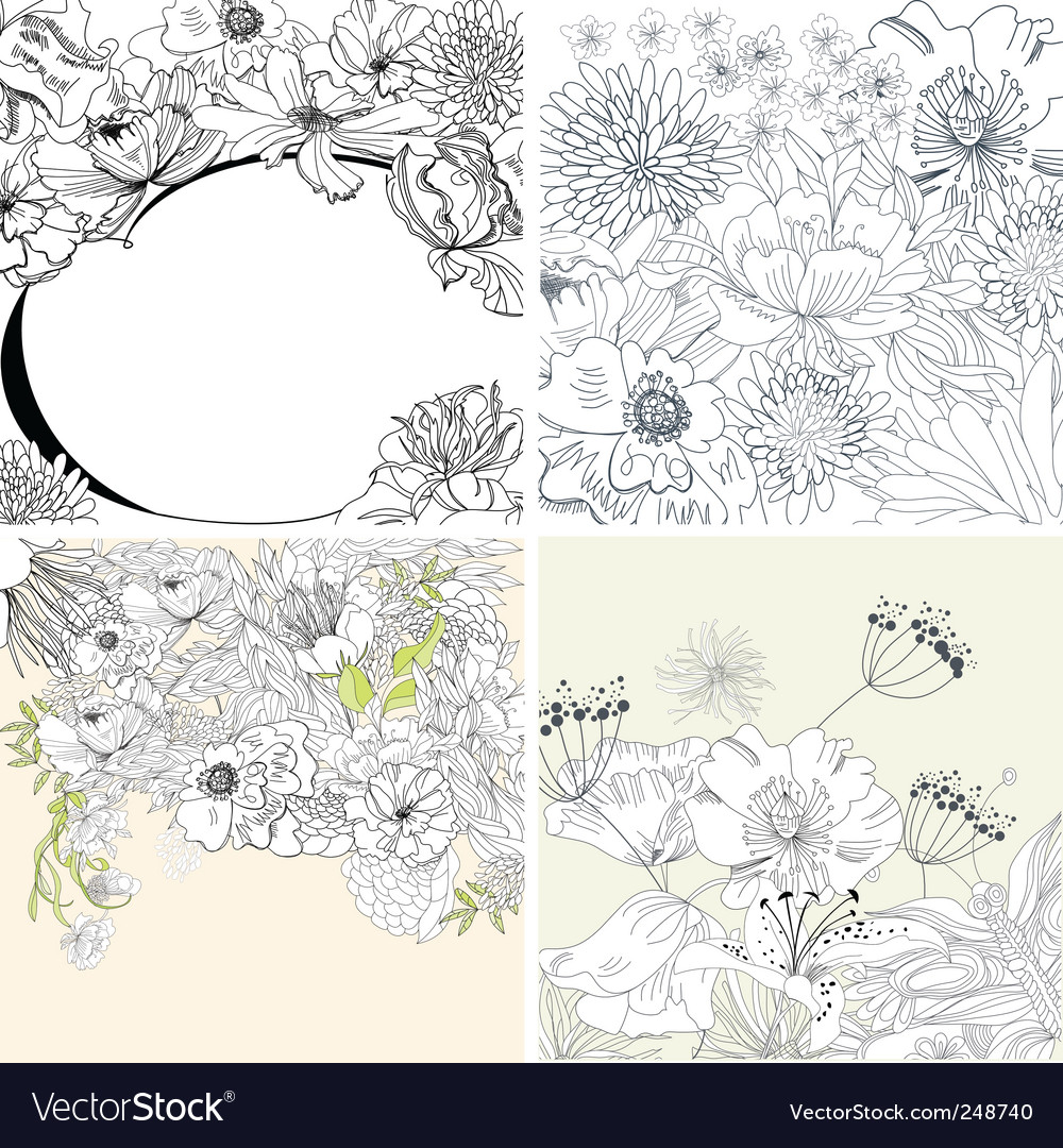 Set of floral background vector