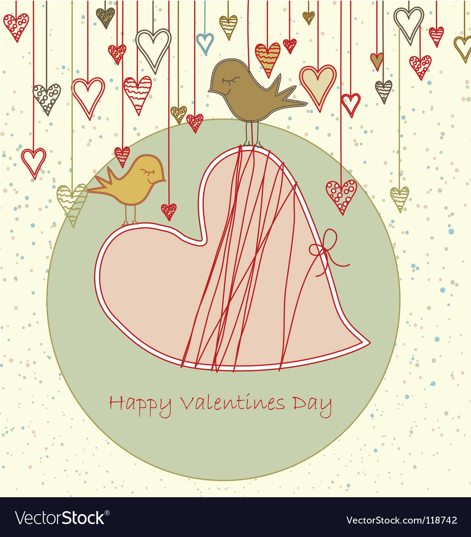 Valentine greeting with cute birds vector