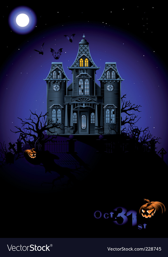 Halloween haunted house vector