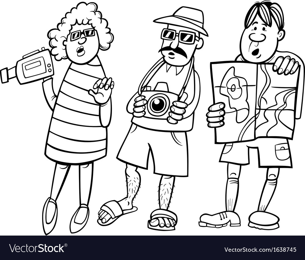 Group Of People Cartoon Black And White