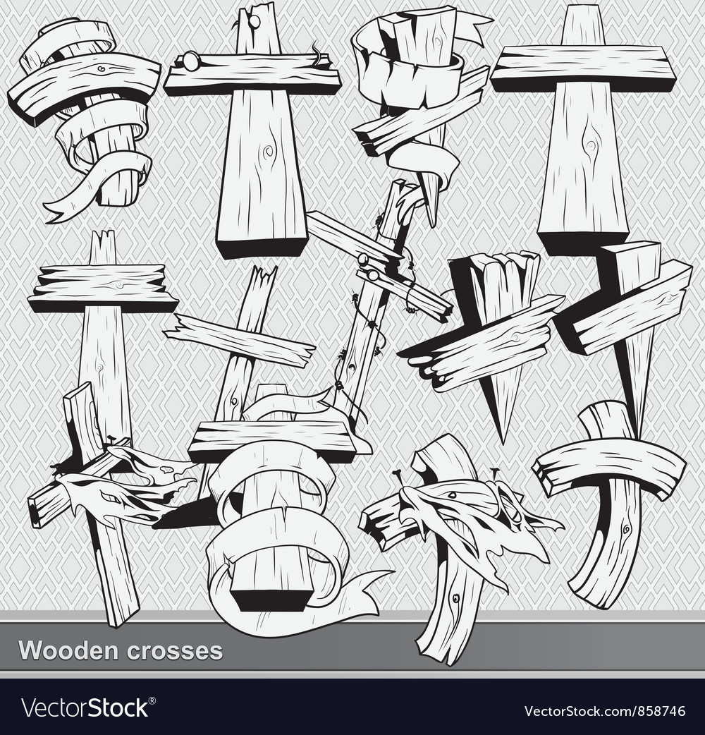 Vintage wood crosses set vector