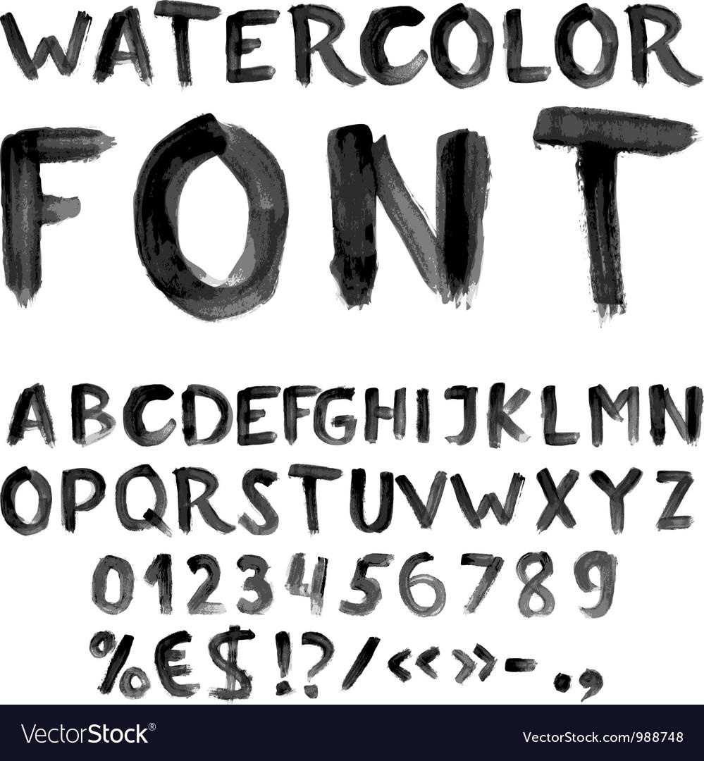 Handwritten black watercolor alphabet vector