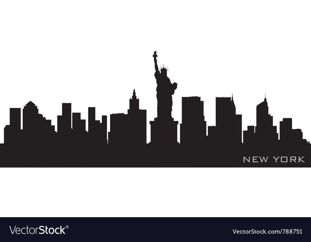 New york skyline detailed silhouette vector