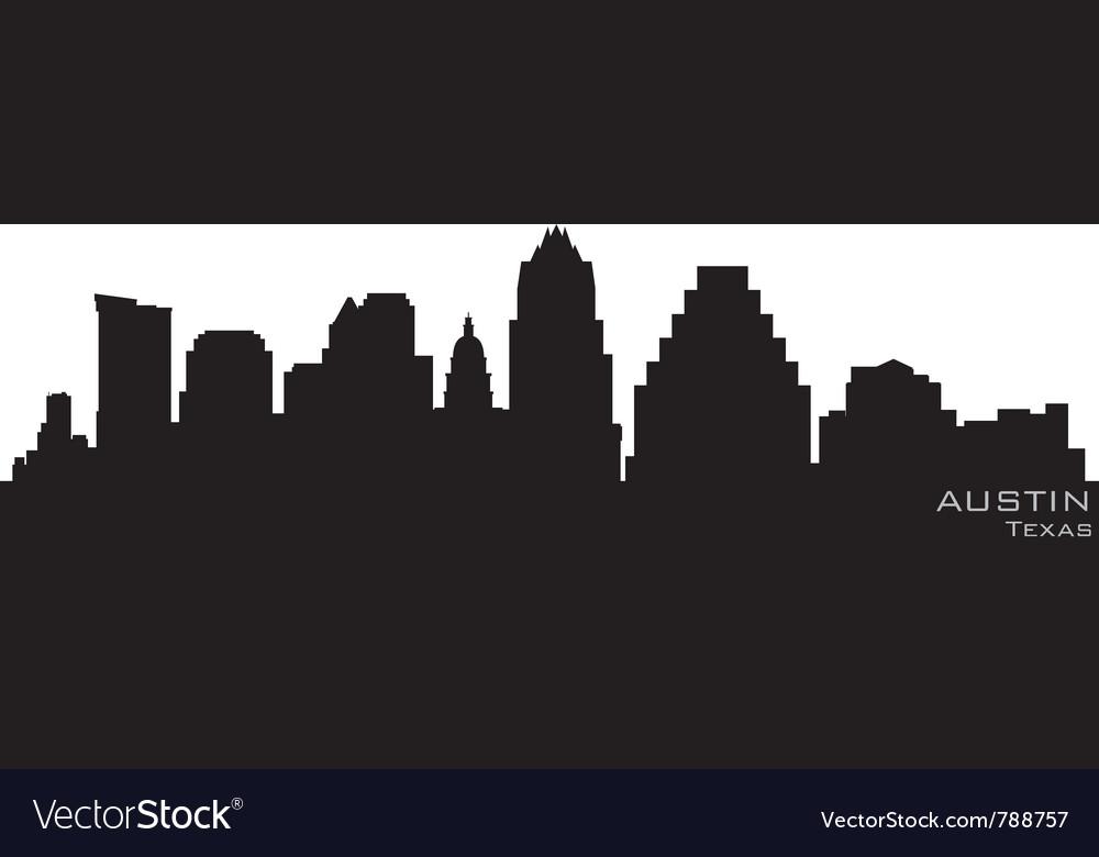 Austin texas skyline detailed silhouette vector