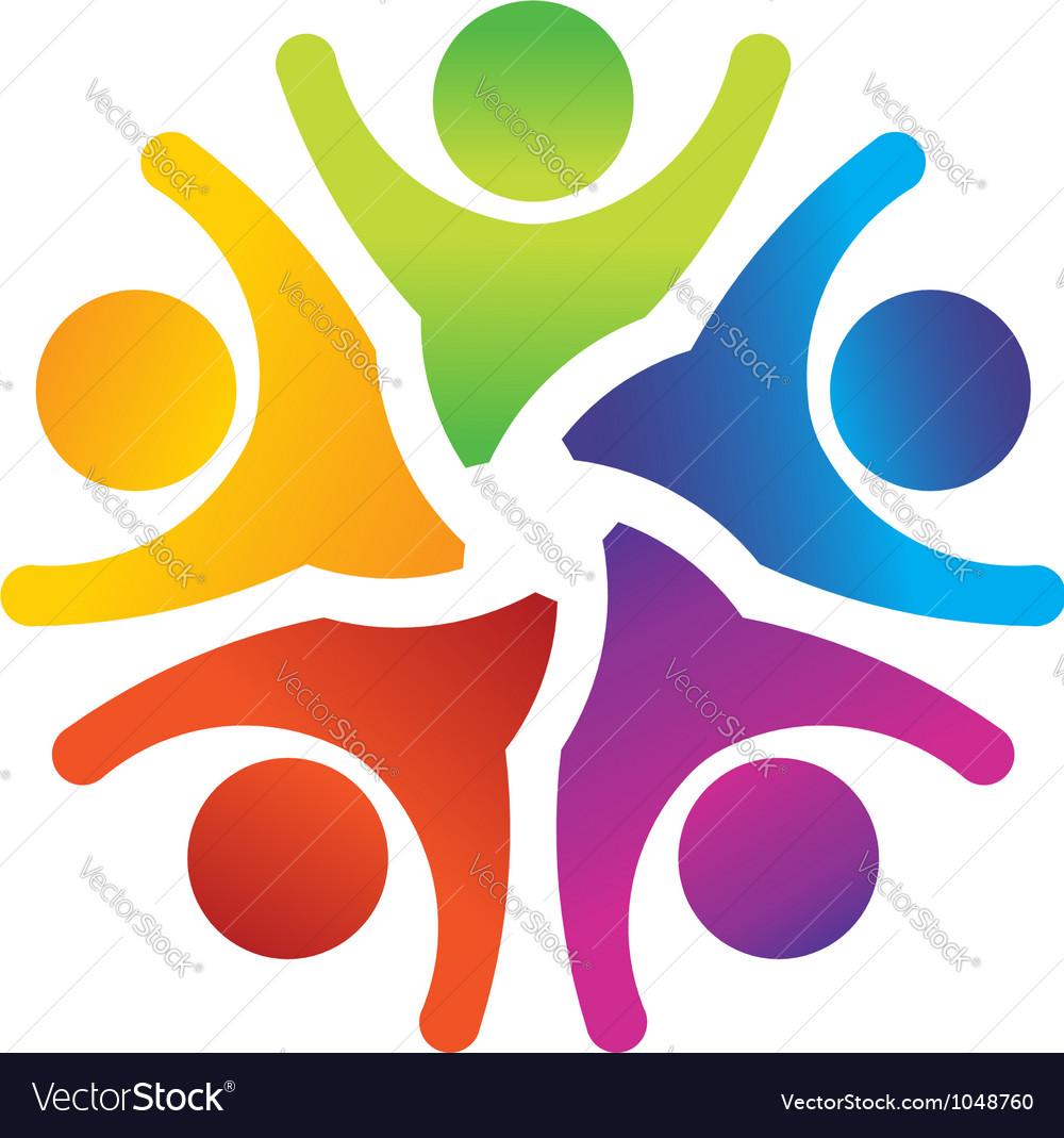 Optimistic teamwork logo vector