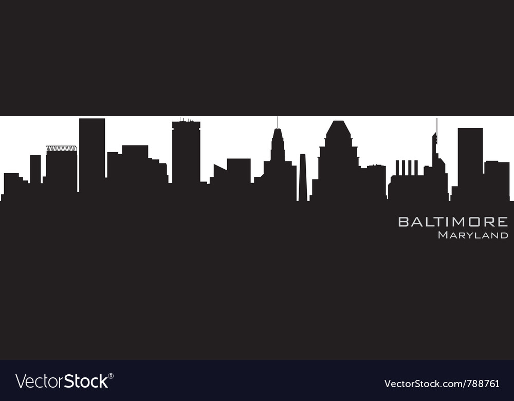 Baltimore maryland skyline detailed silhouette vector