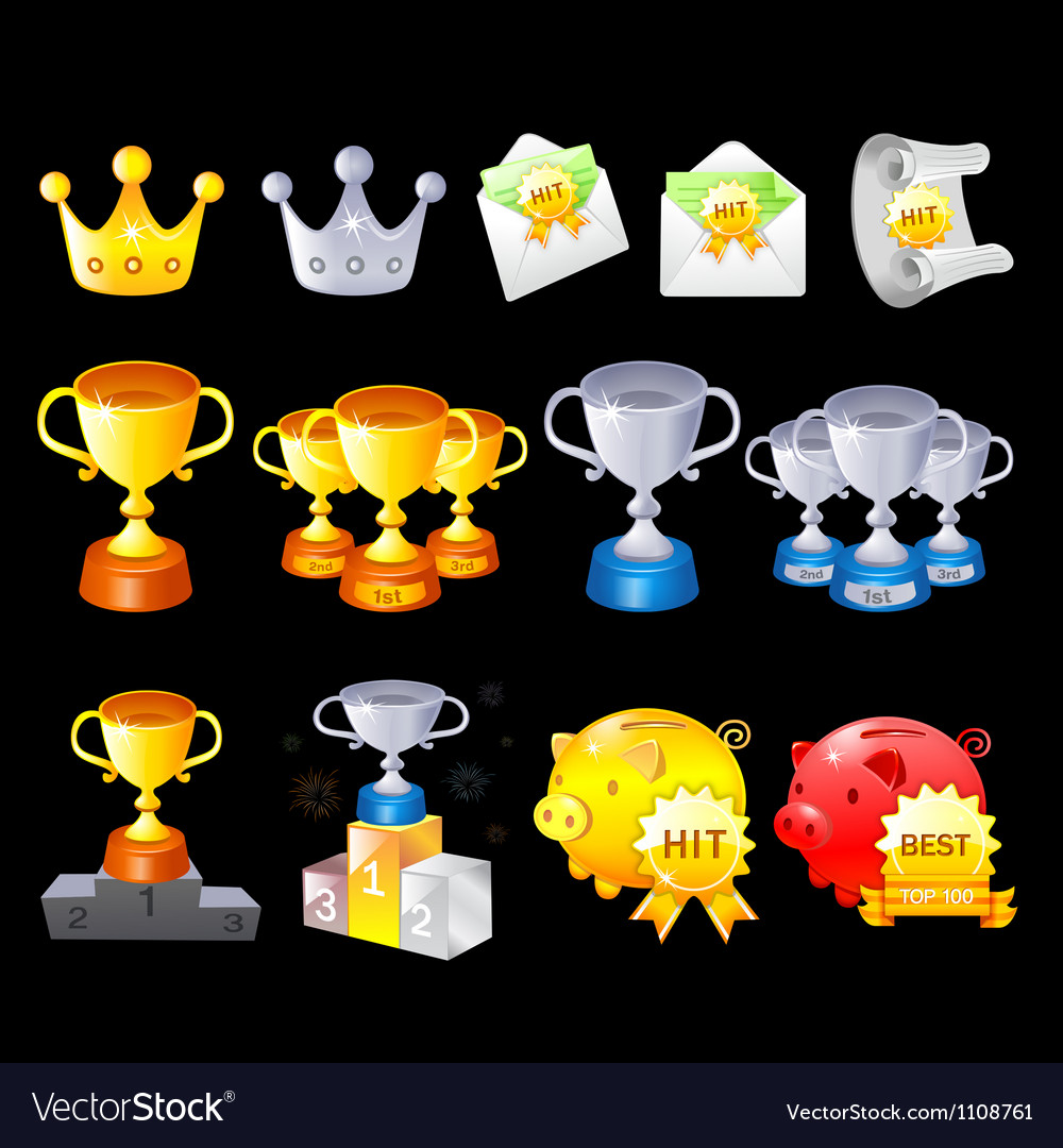 Gold silver bronze contest awards icon sets vector