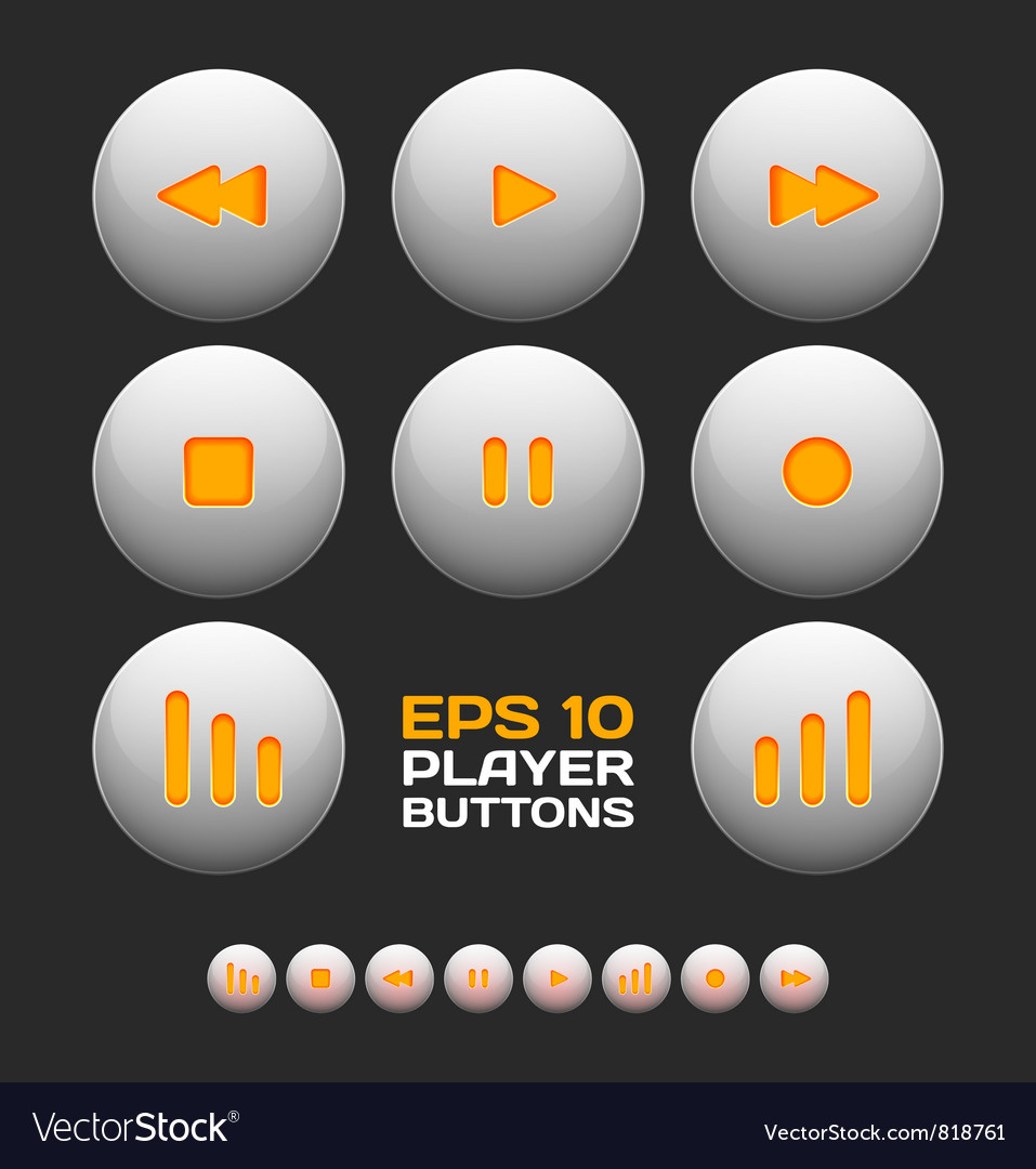Free media player buttons vector