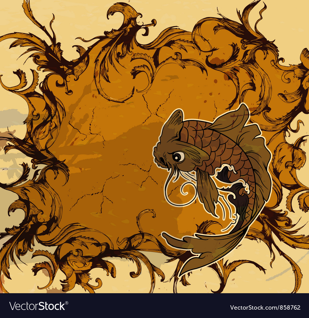 Grunge japanese background vector