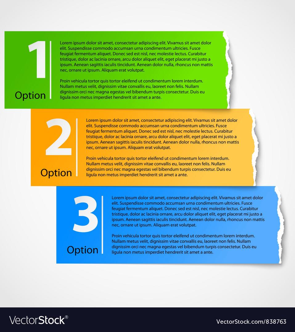 Torn paper progress option background vector