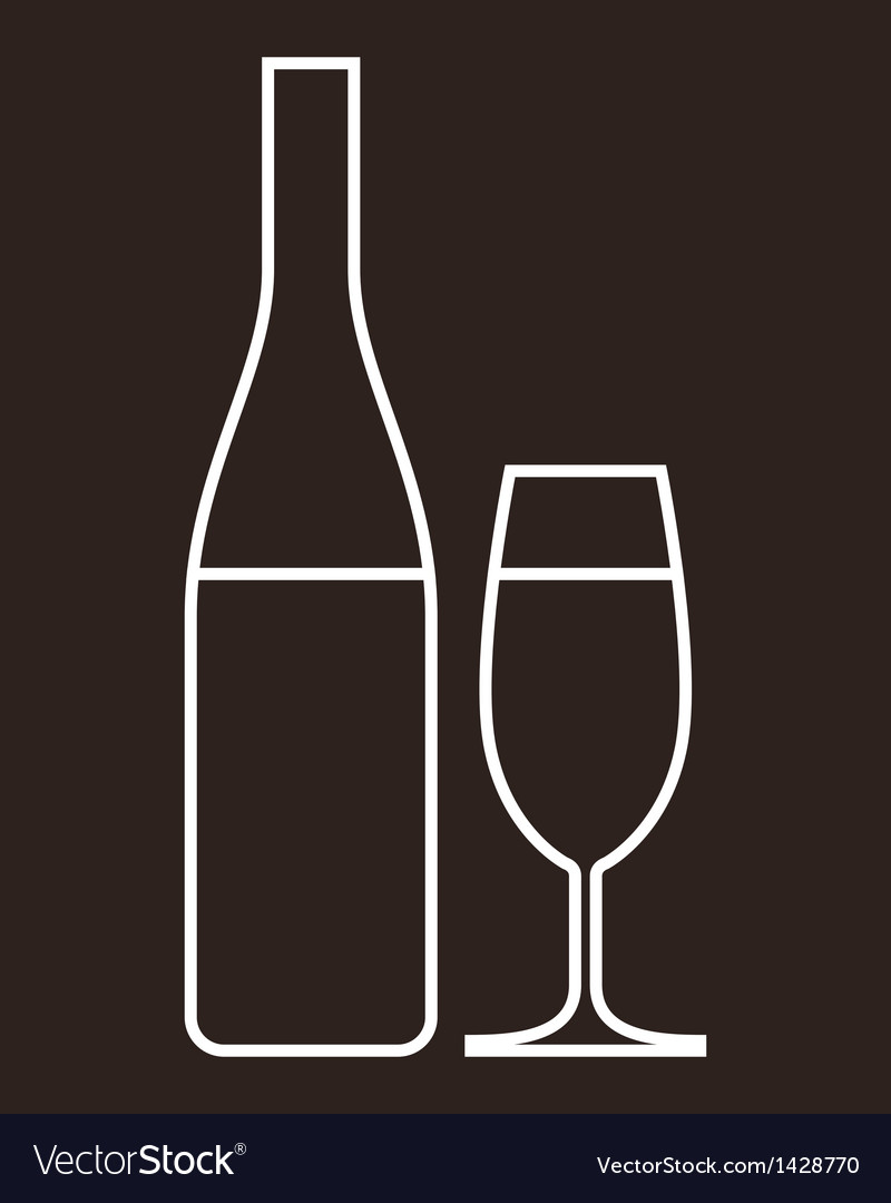 Glass of champagne and bottle vector