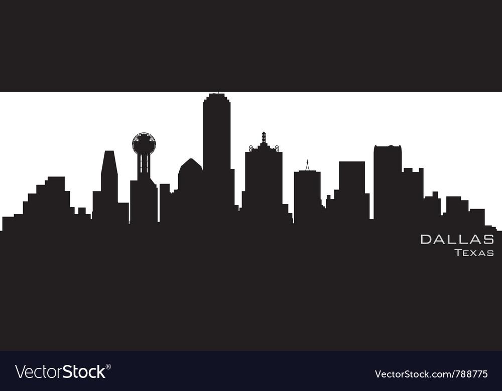 Dallas texas skyline detailed silhouette vector