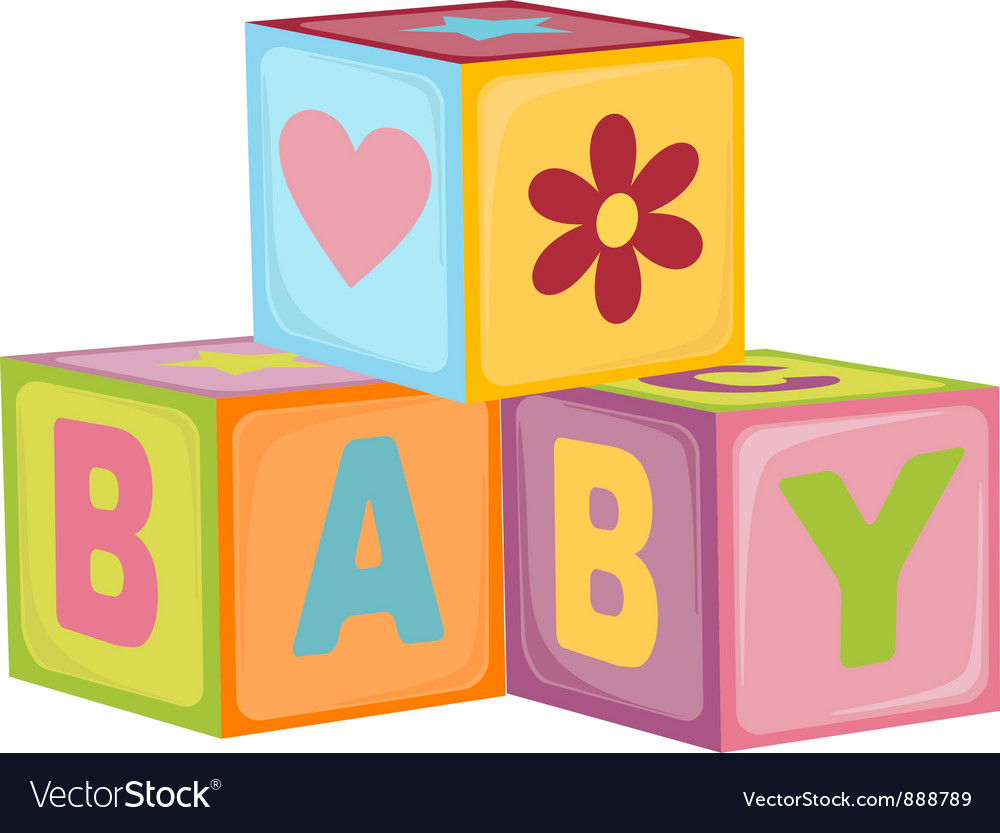 Babys letter cubes vector