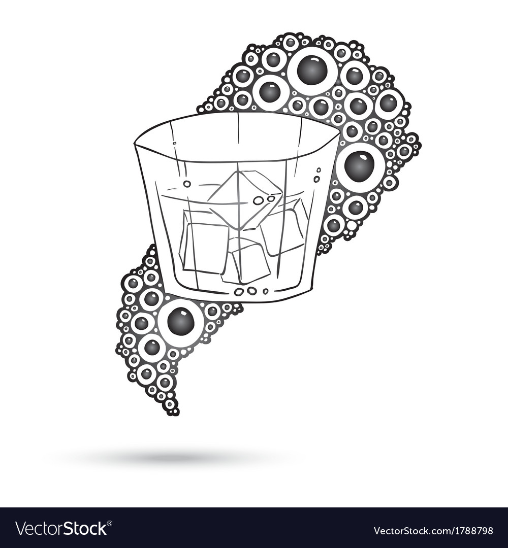 Wine glass on the doodle circular pattern isolated vector