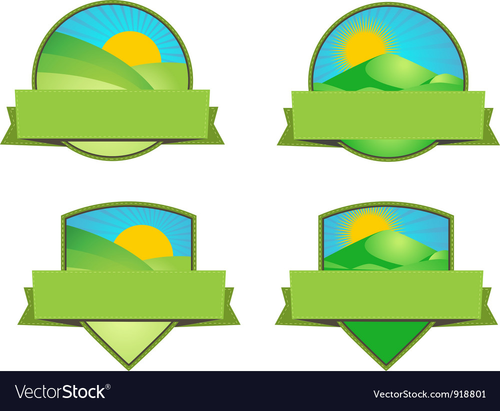Green farming landscape emblems vector