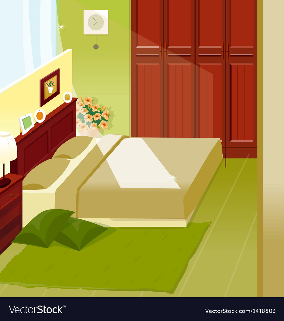 Bedroom interior vector