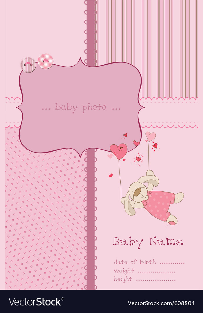 Baby girl arrival card with photo frame and place vector
