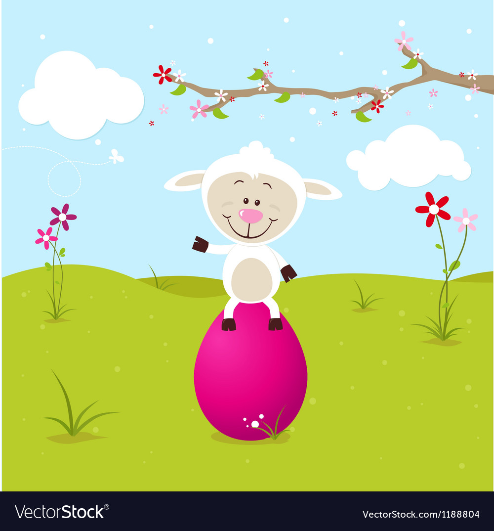 Lovely sheep with big pink egg vector
