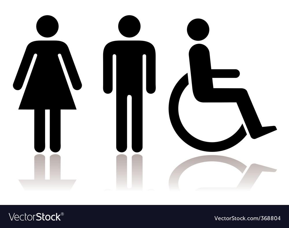 Toilet symbols disabled vector