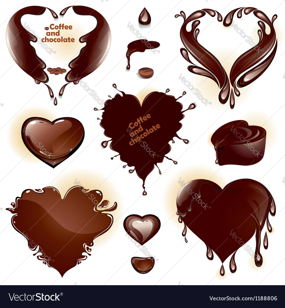 Drops and splashes in the shape of a heart vector