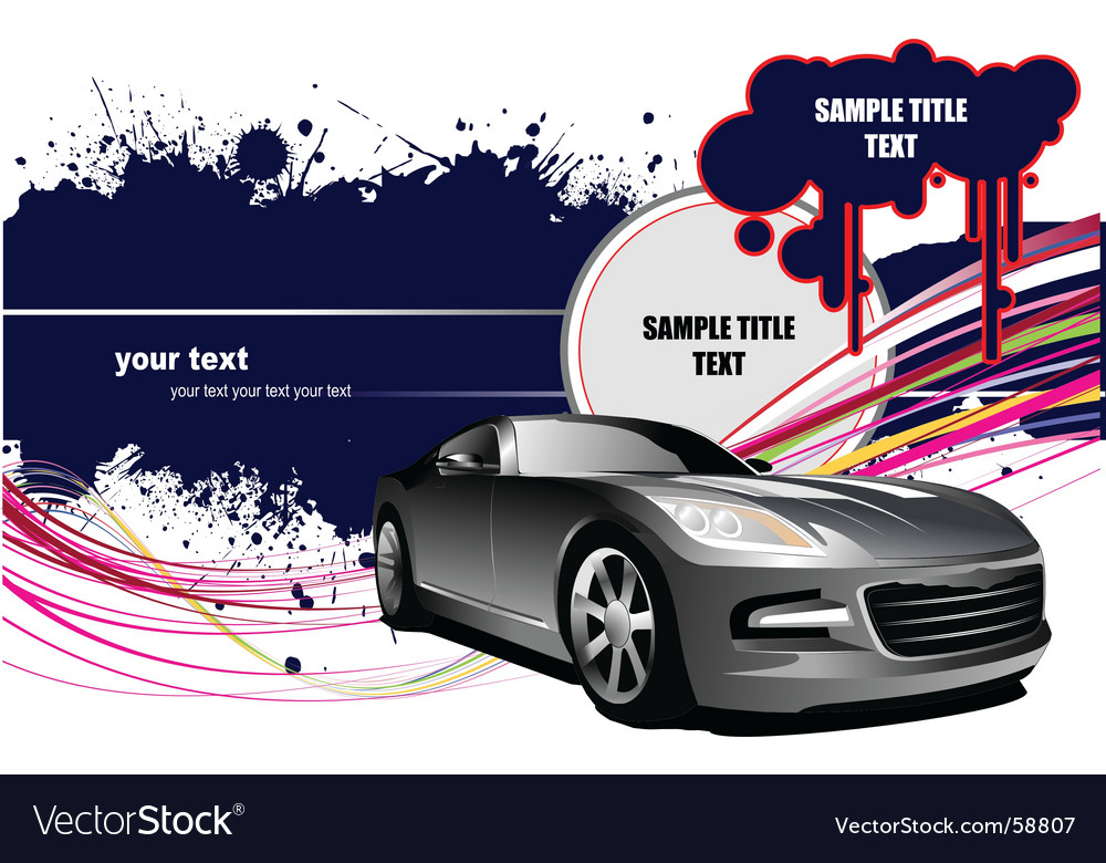 Grunge background with car vector