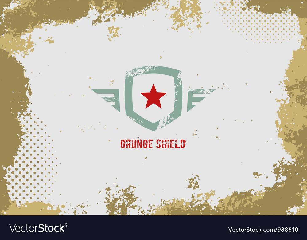 Grunge shield design element on grunge background vector