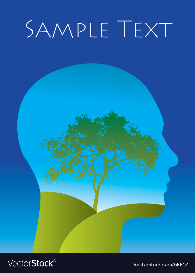 Tree landscape thoughts vector