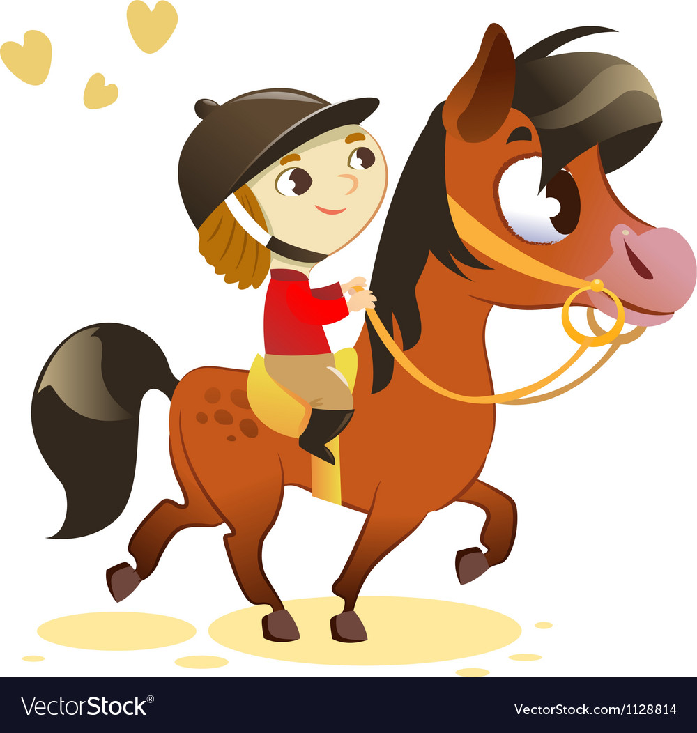Child riding small horse vector