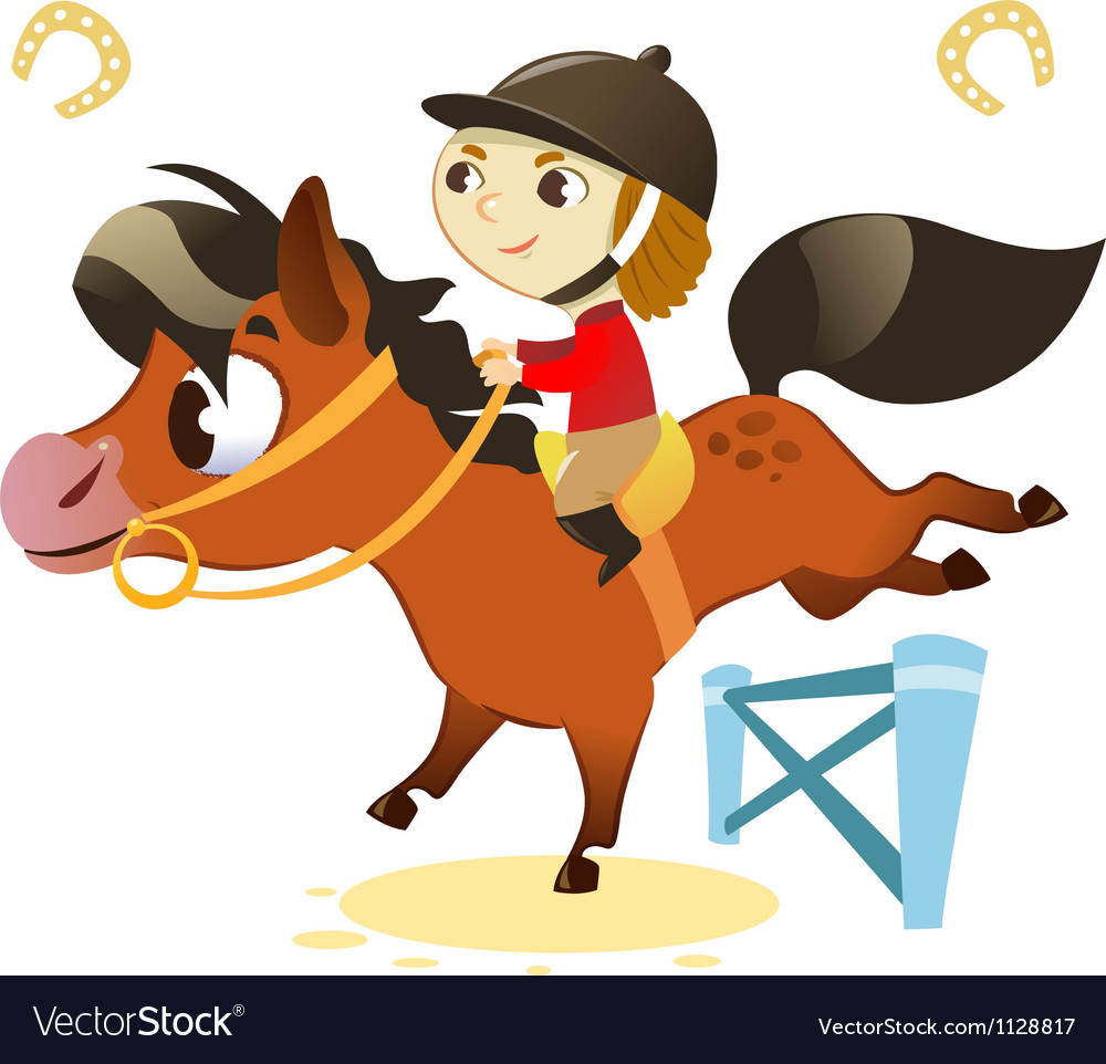 Child with small horse jumping a hurdle vector