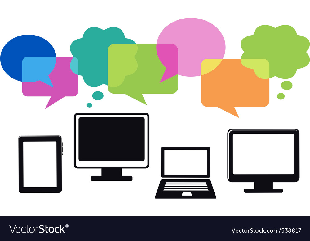 Different computer icons with speech bubbles vector