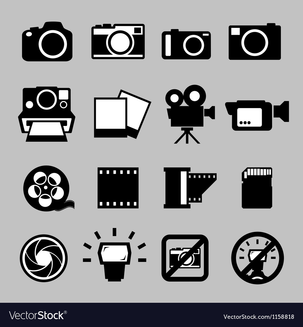 Set of camera and video icons eps 10 vector