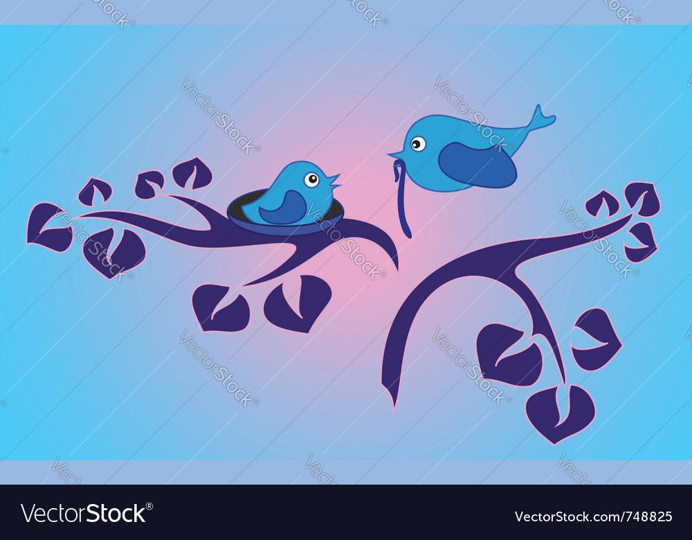 Morning in the bird family vector