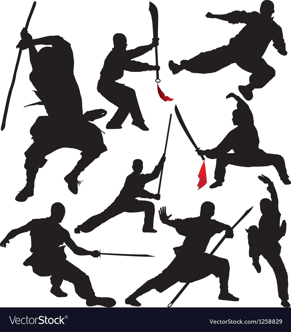 Kung fu shaolin martial arts fighter silhouettes vector