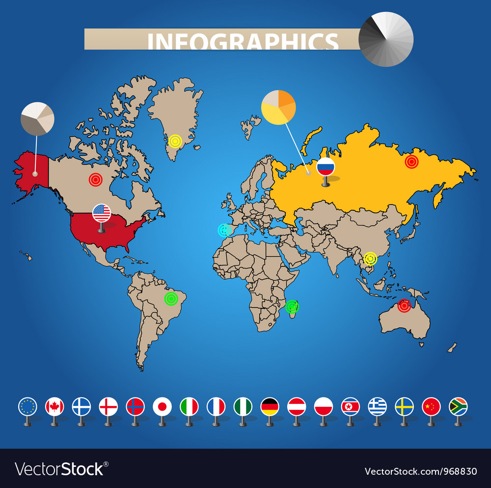 Color earth map with flags of different countries vector