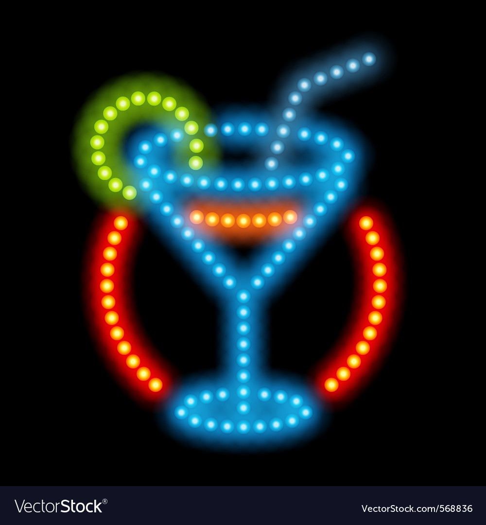 Cocktail neon sign vector