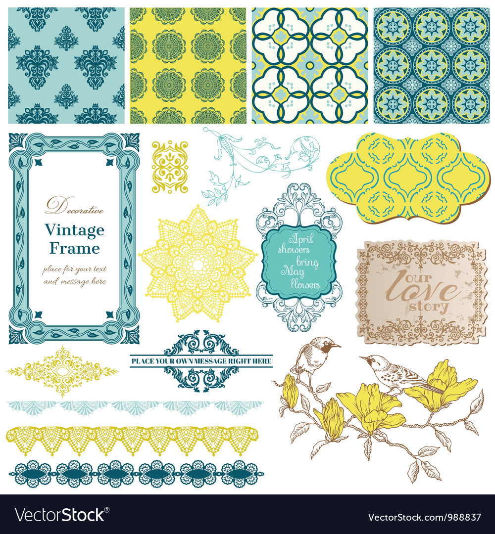 Scrapbook design elements - vintage tiles vector