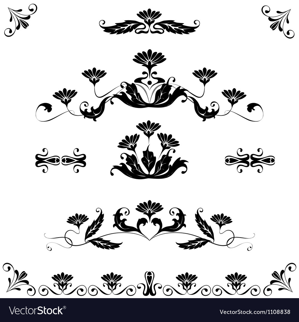 Set elements ornaments floral vector