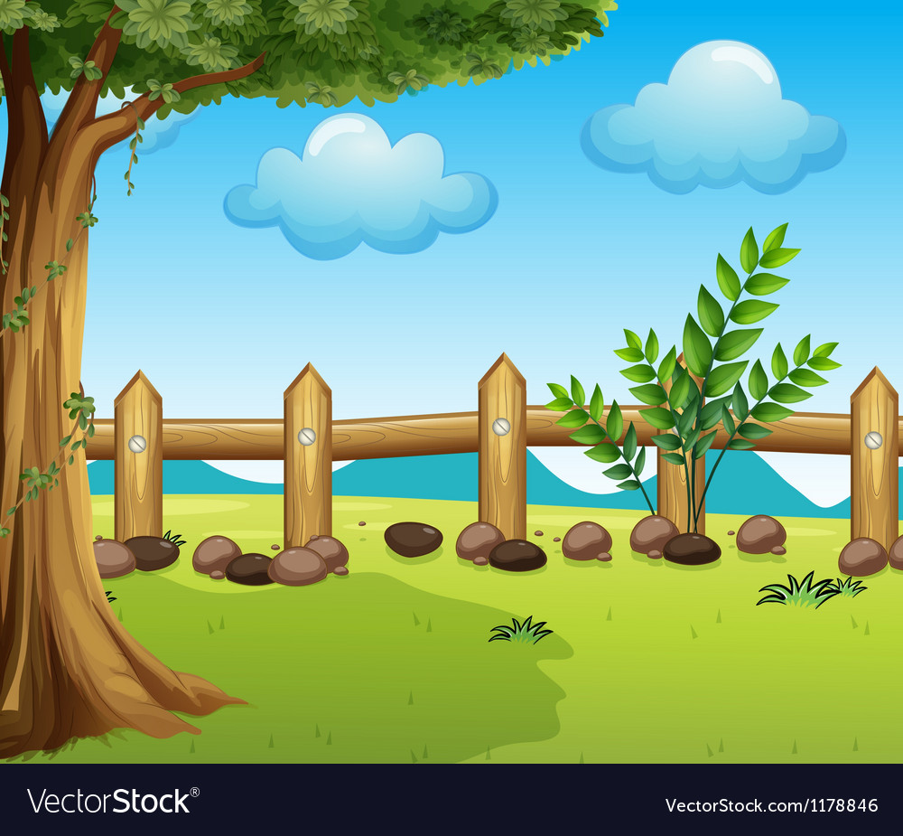 A big tree inside a fence vector