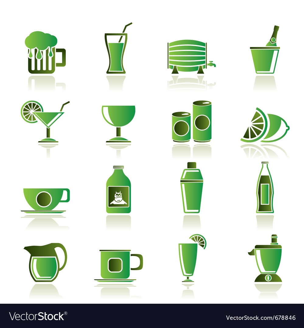 Beverages and drink icons vector