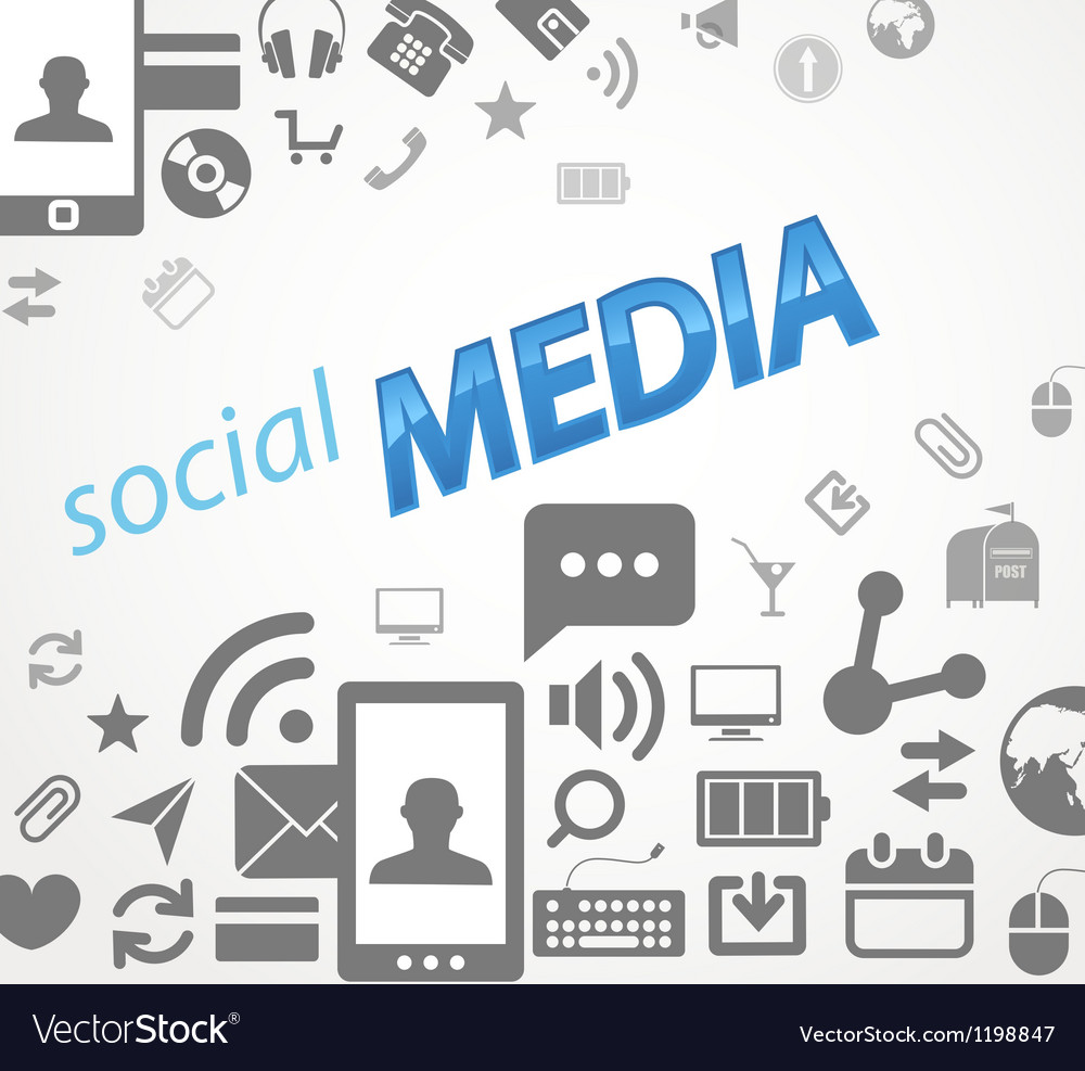 Social media abstract icons vector