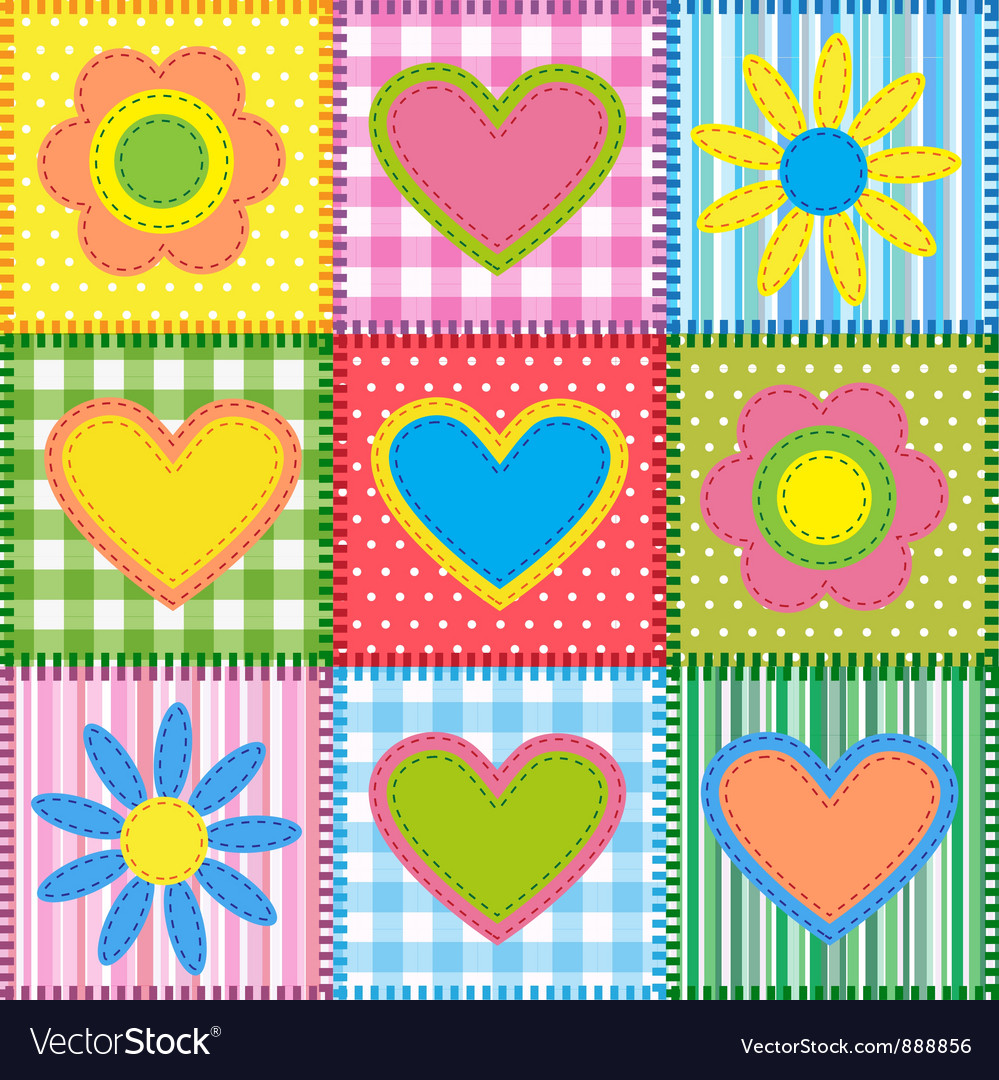 Patchwork with hearts vector